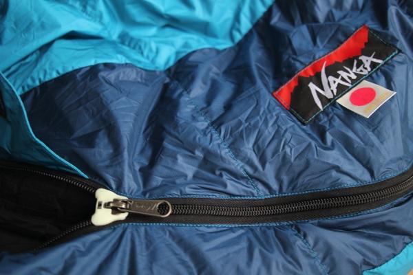 ナンガのオーロラライト600DX ファスナー部分の写真