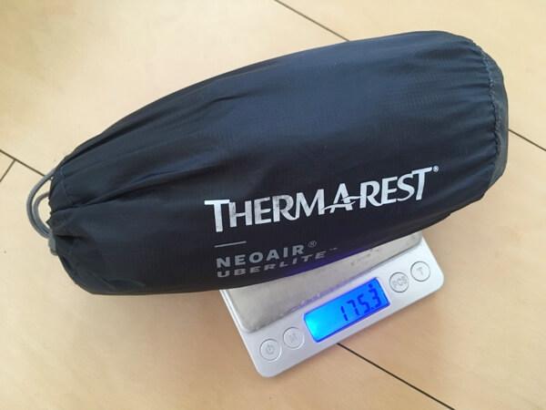 ネオエアウーバーライト スモールの重さ計測
