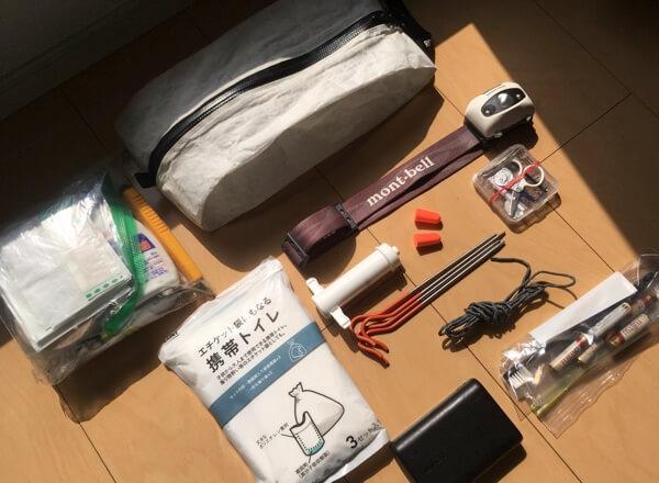 テント泊装備の小物類