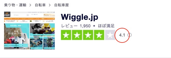 wiggleのTrustspotのレビュー